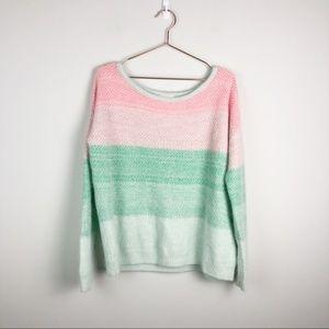UO Pins & Needles Pastel Striped Angora Sweater